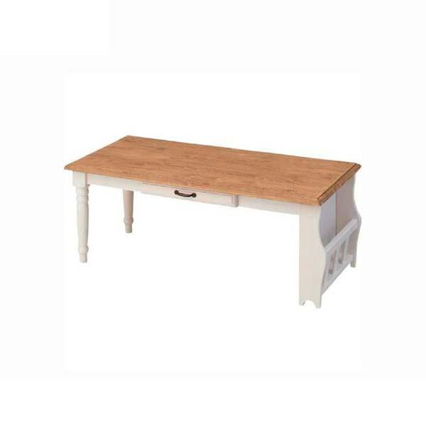 センターテーブル 幅105cm 奥行50cm 高さ40cm ミディセンターテーブル 天然木 パイン材 リビングテーブル ローテーブル ホワイト 白 フレンチ カントリー デザイン ミディ CFS-214 インテリア 家具 雑貨 セール 送料無料 ヴィヴェンティエ