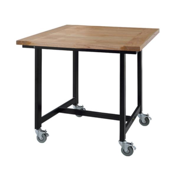 ダイニングテーブル テーブル 天然木化粧繊維板 ミンディ 幅80cm 奥80cm 高さ72cm スチール アイアン モダン シンプル デザイン 作業台 キャスター付 GUY-671 インテリア 家具 雑貨 セール 組立式 送料無料 ヴィヴェンティエ