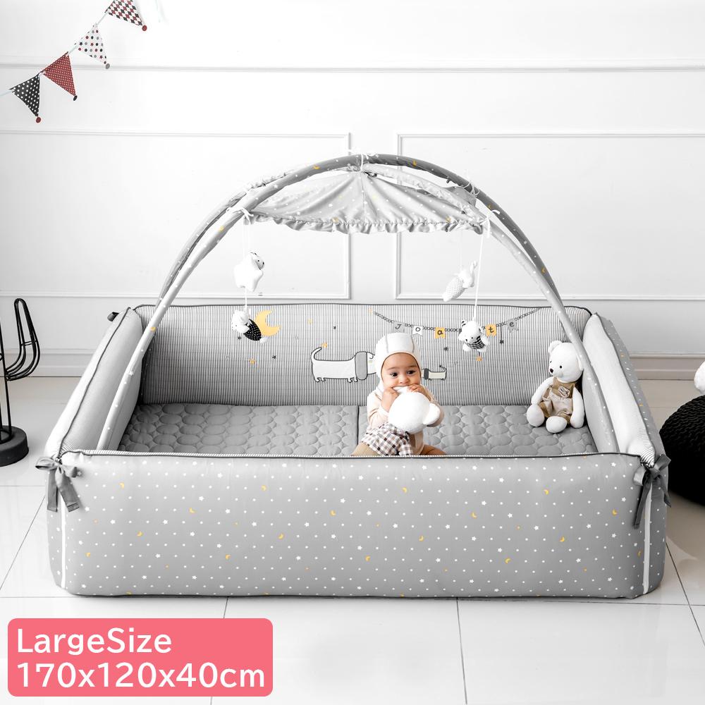 【正規品】 バンパーベッド ベビーベッド ベビーサークル JOATTE Puppy グレー 星柄 ラージサイズ 赤ちゃん スペース 送料無料 クリスマスプレゼント 託児スペース