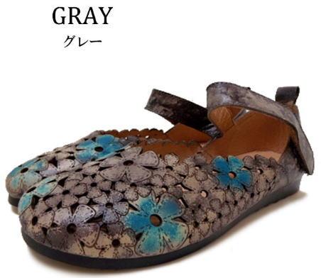 Hina Green Label フラワーカッティング ストラップシューズ 靴 レディース 婦人靴 ●送料無料