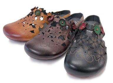 Hina Green Label フラワーカッティング サボサンダル  靴 レディース 婦人靴●送料無料