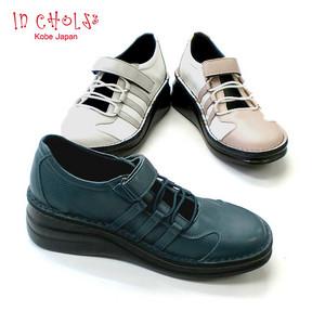 ウォーキングシューズ 好評受付中 In Cholje インコルジェ 足に優しい靴 本革 甲バンド 送料無料 8729 甲ゴムストラップのウォーキングシューズ レディース 卓抜 婦人靴 靴 日本製