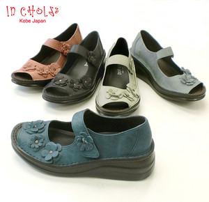 In Cholje(インコルジェ) 足に優しい靴 本革 フラワーモチーフ オープントゥーシューズ(8731)日本製靴 レディー ス 婦人靴●送料無料