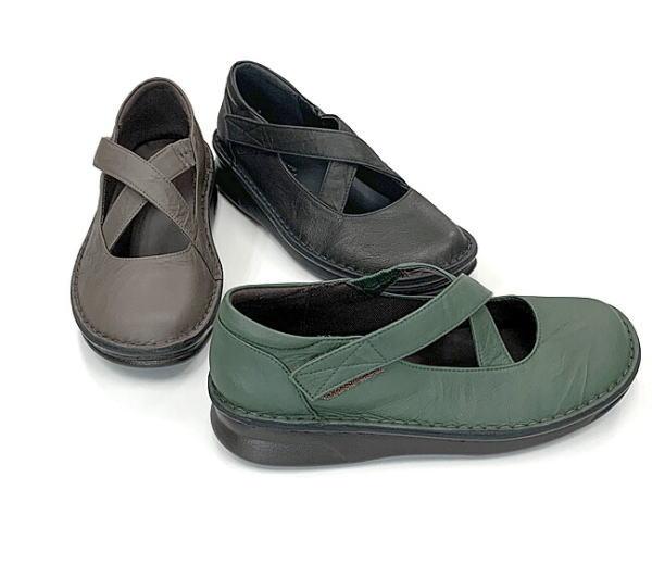 In Cholje(インコルジェ)足に優しい靴 本革!甲クロスストラップシューズ(8590)  靴 レディース 婦人靴 ●送料無料