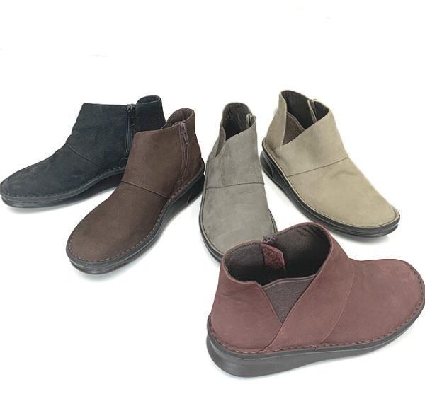 サイドファスナーのブーティー In Cholje インコルジェ 足に優しい靴 本革起毛素材の横ファスナーブーティー 8592 送料無料 レディース 婦人靴 記念日 新生活 靴