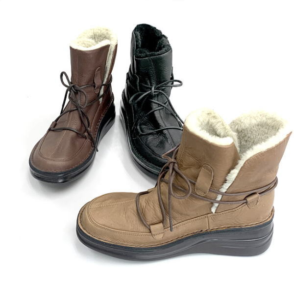 In Cholje(インコルジェ)足に優しい靴 ゴムレースアップ ファー付きブーツ(8744) 靴 レディース 婦人靴●送料無料