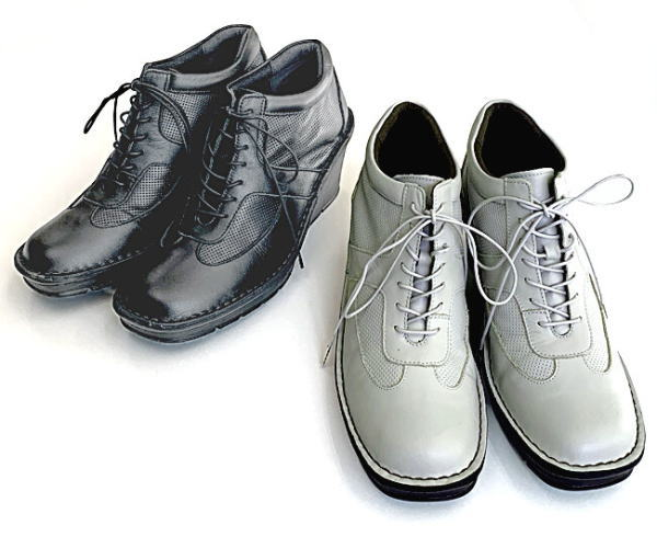 In Cholje(インコルジェ)足に優しい靴 厚底ウェッジレースアップ スプリングブーティー 日本製 靴 レディース 婦人靴●送料無料