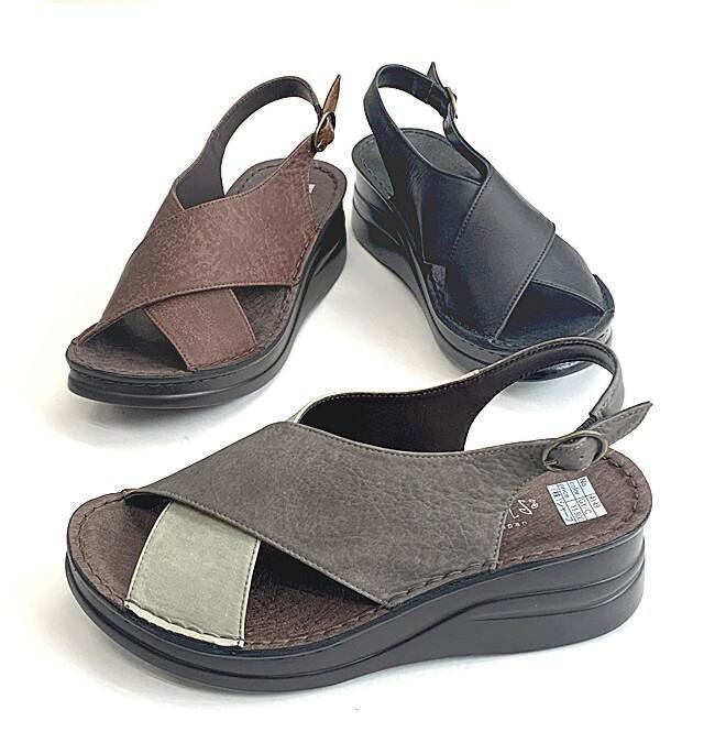 ホールド力の高い クロスワイドストラップが自慢のサンダル 店内全品対象 百貨店 In Cholje インコルジェ 足に優しい靴 クロスストラップ 4149 送料無料 レディース 婦人靴 靴 バックバンドサンダル