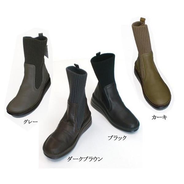 踵高5cmのショートブーツ In Cholje インコルジェ 足に優しい靴 ニットブーツ 5cmヒール 8172 レディース 婦人靴 日本製 結婚祝い 毎日がバーゲンセール 送料無料 靴 ショートブーツ