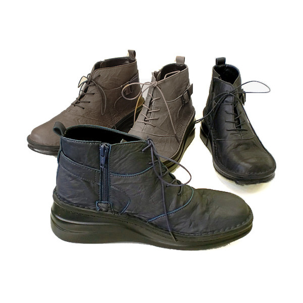 In Cholje (インコルジェ)足に優しい靴 本革 横ジップレースアップブーツ(8493)日本製 靴 レディース 婦人靴 ●送料無料