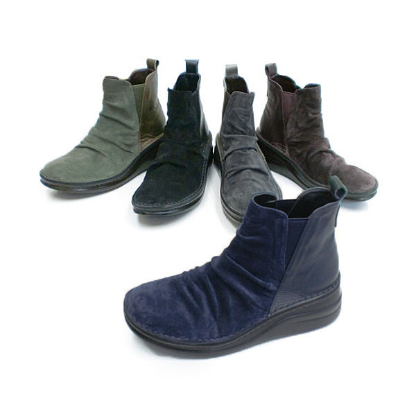 In Cholje(インコルジェ) 足に優しい靴 本革!サイドゴア コンビブーツ(8496)日本製  靴 レディース 婦人靴●送料無料