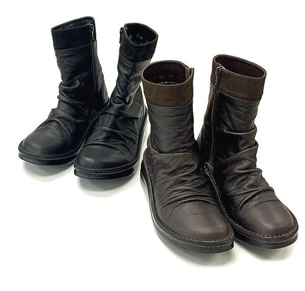 ミドルブーツ In Cholje インコルジェ 足に優しい靴 くしゅくしゅコンビレザーミドルブーツ 靴 即納最大半額 送料無料 8784 日本製 レディース 婦人靴 毎日がバーゲンセール