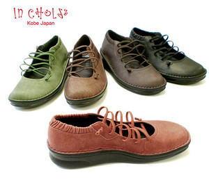 In Cholje(インコルジェ)足に優しい靴 本革ゴムレースアップ バレーシューズ (8586) 日本製 靴 レディース 婦人靴●送料無料