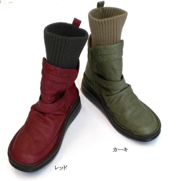 In Cholje(インコルジェ)足に優しい靴 本革 ニットエンジニアショートブーツ(8340)靴 レディース 婦人靴 ●送料無料