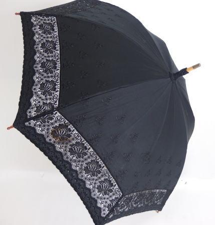 ケミカルレースの日傘です お買い得品 日かさ純パラソル UV加工 1本曲り骨傘 大人気 綿サテン インケミカルレース刺繍傘 レディース 婦人傘 送料無料