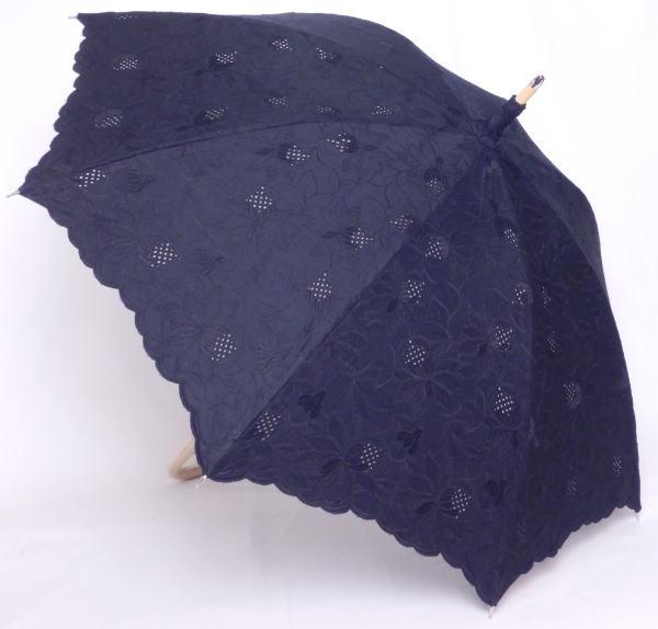 4インチエンブロイダリー刺繍 パラソル 日本製 純パラソル 長傘 流行 !超美品再入荷品質至上! 送料無料 婦人傘 4インチエンブロイダリー総刺繍 日傘 レディース