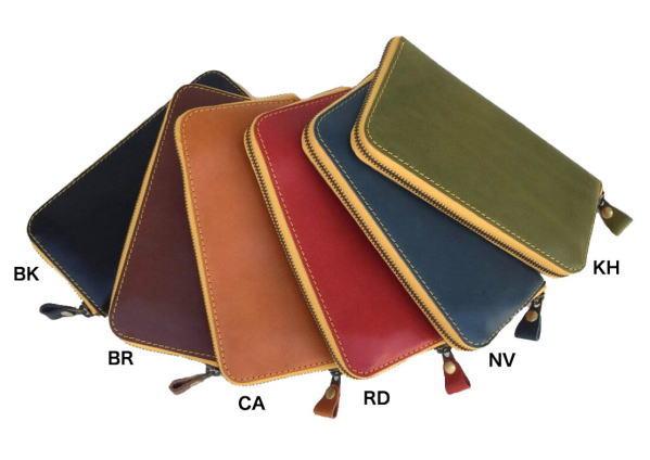 栃木レザーのジーンズを使用した長財布 無料 Lien リアン 栃木レザー 日本製 日本未発売 イエローツートンラウンドウォレット 送料無料