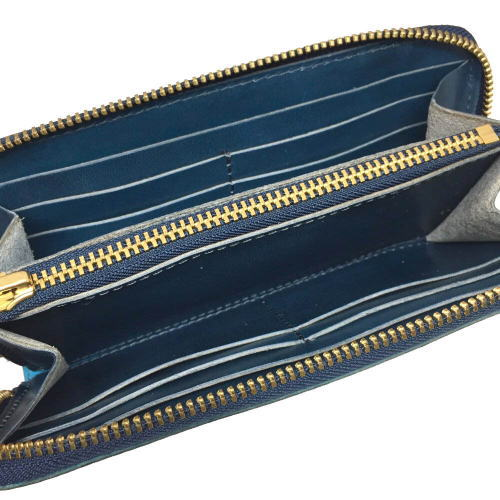 大きく開くラウンドファスナーで見通しが良好 Lien 賜物 リアン コードバン×ジーンズラウンドウォレット タイムセール 送料無料 〈日本製〉 レディース 長財布