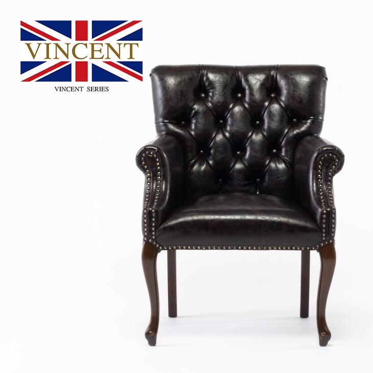 チェア 合皮 ダイニングチェア アームチェア チェスターチェア アンティーク調 椅子 いす 木製 ダークブラウン(こげ茶) PUレザー 【ヴィンセント】 レストラン・ホテル仕様 猫脚 ロマンチック おしゃれ  ロココ調 9017-5P48B