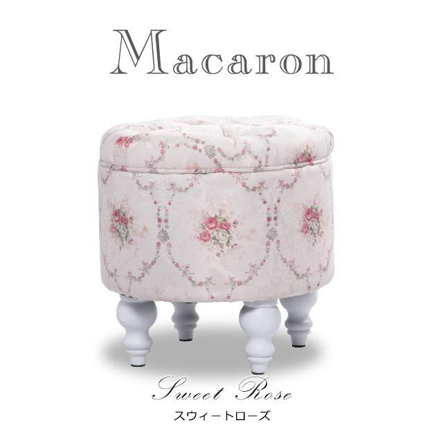 【送料無料】スツール アンティーク調 スツール 椅子 いす スウィートローズ(ピンク系xバラ柄) ロマンチック 姫系 おしゃれ 可愛い Macaron マカロン AJ6F116W