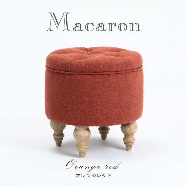 【送料無料】スツール アンティーク調 スツール いす 椅子 オレンジレッド Macaron マカロン おしゃれ ロマンチック シャビーシック AJ6F94N-R