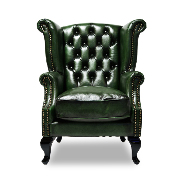 ≪Single Sofa High Background Sofa Green VSA310 Of Chesterfield Style U003eu003e  Total Genuine Leather Specifications Of The U.K.