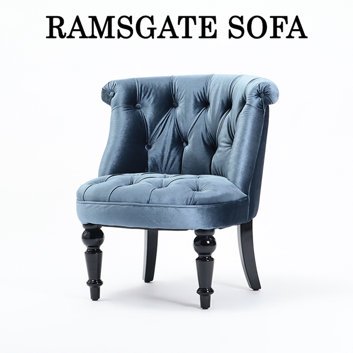 【ソファ 1人掛け】【ラムズゲイト ソファ】 ソファ アンティーク 1人掛けソファ パーソナルソファ 椅子 いす ベルベット調ファブリック ブルーベルベット 英国調 おしゃれ ロマンチック AJ1F92K