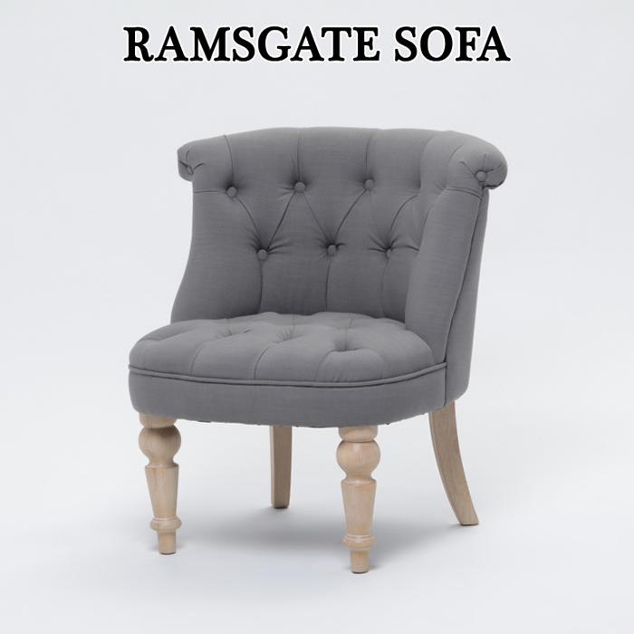 1人掛けソファ リネンソファ 椅子 いす アンティーク調 ソファ ≪ラムズゲイト≫ グレー 布地 ロマンチック 姫系 可愛い おしゃれ AJ1F96N