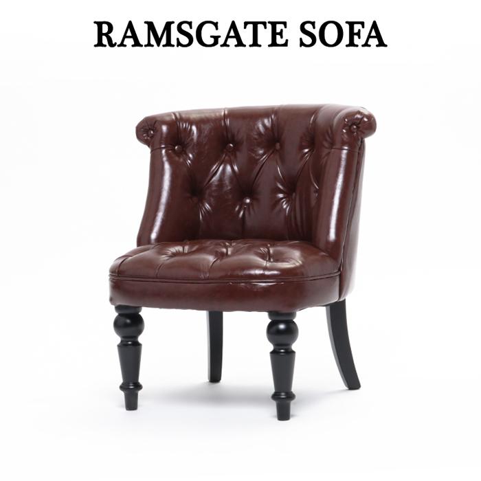 1人掛けソファ アンティーク調 ソファー ソファ アンティーク 【ラムズゲイト】 シングルソファ 1P コンパクトソファ 椅子 いす 赤茶系(PUレザー) 英国調 イギリス ロマンチック 姫系 AJ1P56K