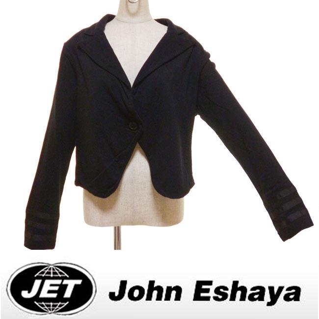 Jetジェットフリーススエットクロップジャケット John eshaya セレブ愛用 カジュアルジャケット ブラック 黒 fred segalフレッドシーガル 長袖 無地