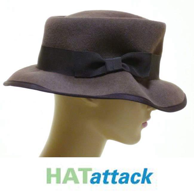 LAセレブ愛用Hat attackハットアタック ポークパイハット ブラウン フエルト カンカン帽 レディース 秋冬 おしゃれ リボン かっこいい マニッシュ