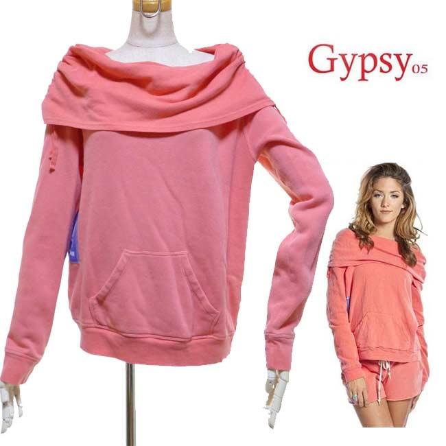 LAセレブ愛用Gypsy05ジプシーオーファイブ女の子らしいシルエットがキュートなスエット トレーナー 裏起毛 オレンジ オフショルダー 長袖レディース 春 秋 冬 ストリート かわいい