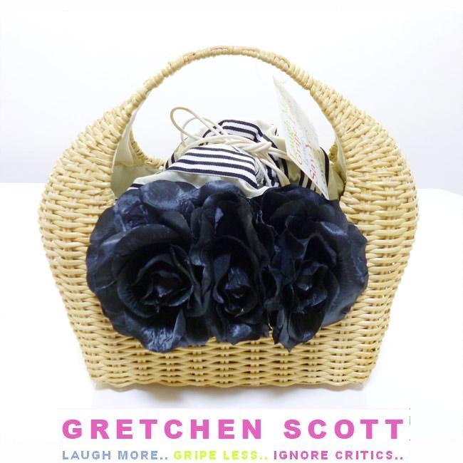 Gretchen scott グレッチェン・スコットブラックローズかごバッグ インポート お花 フラワー カゴバッグ バスケット basket bag カゴバッグ