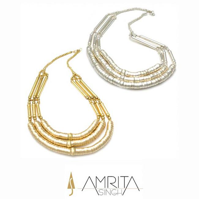 Amrita singh jewelryアムリタ3 Strand Capsuleネックレス アメリカ インポート ゴールド シルバー ロング メタル カジュアル