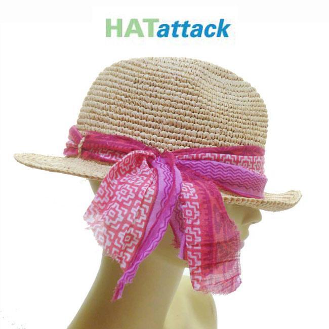 LAセレブ愛用ブランドHat attackハットアタックジオメトリック柄のリボンがキュートすぎ♪ラフィア中折れ帽 ピンク ストローハット インポート おしゃれ かわいい リゾート 春夏