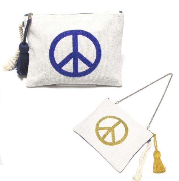 swarajスワラージ ビーズ刺繍のピースマーク♪クラッチバッグ ショルダー 2way ホワイト カジュアル おしゃれ かわいい 4300001601