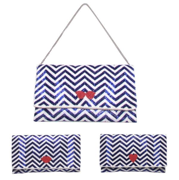 swarajスワラージ マリンカラーのビーズ刺繍♪クラッチバッグ ショルダー 2way clutch bag キスマーク ハート リボン パーティーバッグ おしゃれ かわいい ドレッシーカジュアル 022250171