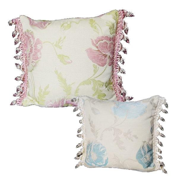 イタリア製ポピージャガードクッション ピンク ブルー 3602734 きれいめ おしゃれ かわいい 上品 花 フラワー エレガント フェミニン