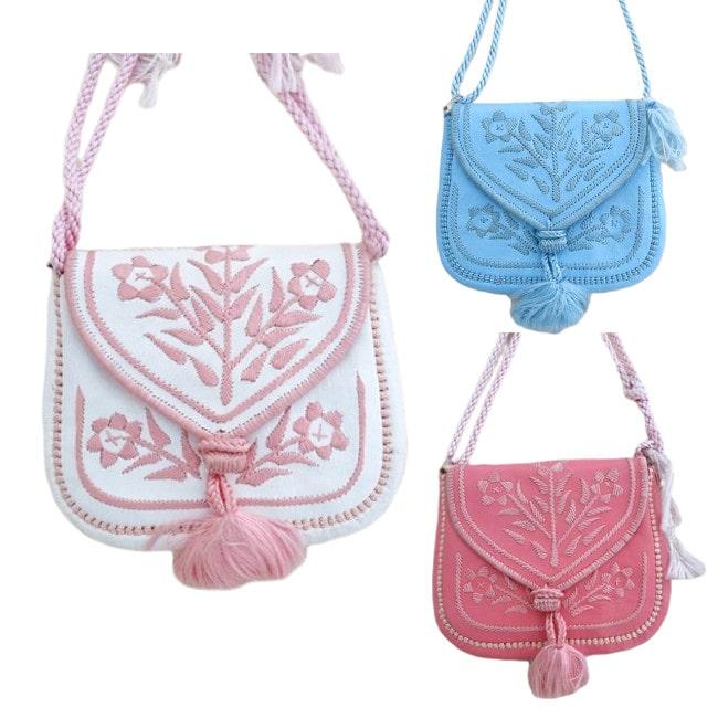モロッコ刺繍ミニショルダーバッグ ハンドバッグ ピンク ブルー 山羊革 リアルレザー ボヘミアン 6414263 かわいい おしゃれ