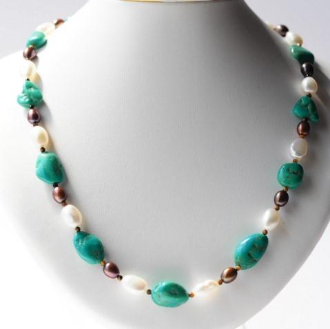 トルコ石 真珠 ネックレス(48cm)天然石