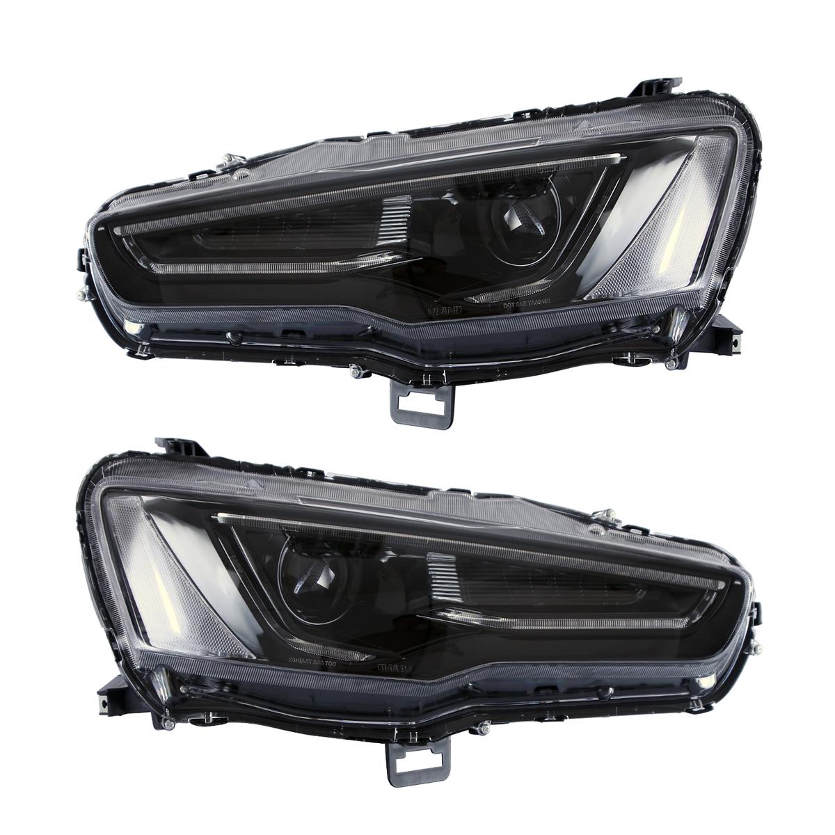 三菱 ランサーエボリューションX CZ4A 流れる ウインカー 昼間ランニングライト ダブルプロジェクターレンズ バルブセット付属 USEKA 全ブラック仕様 LEDデイライト !超美品再入荷品質至上! 流れるウインカーアウディ スタイル ギャランフォルティス左右セット新品 LAMP FOR MITSUBISHI 08年以後 HEADLIGHT LED 2008-up ヘッドランプ black 使い勝手の良い LANCER ヘッドライト