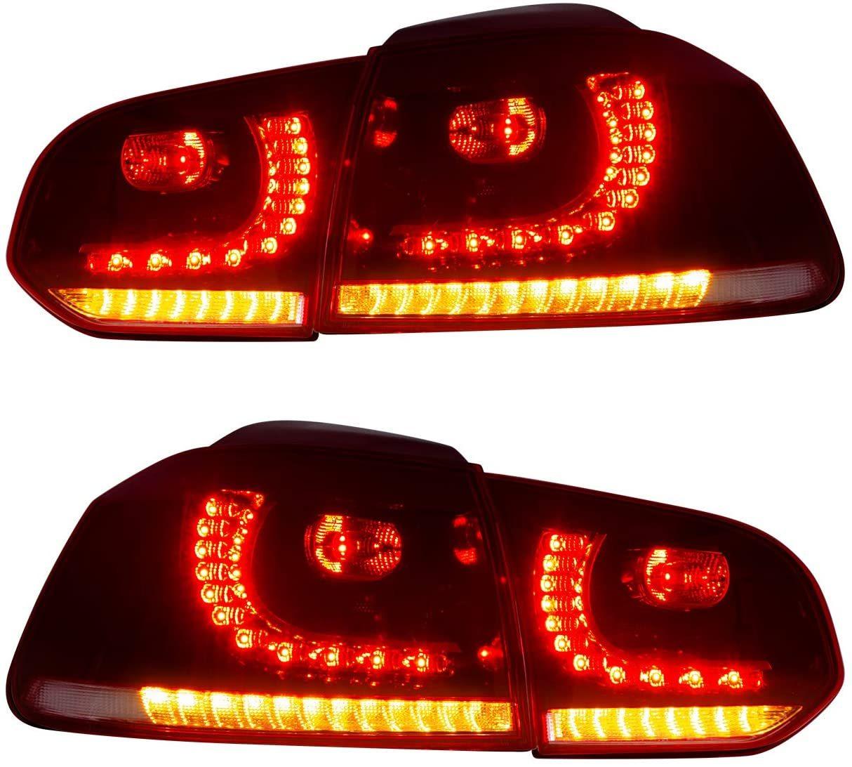 VW ゴルフ6 MK6 テールランプ golf6 taillight LED流れる ウインカー USEKA MK6 ついに再販開始 テールライト レードクリア 2008-2013 08-13年 新型 《週末限定タイムセール》 LED リアライト 新品 左右4点セット 流れる