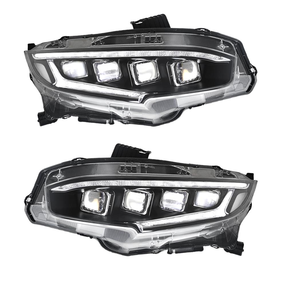 シビック ヘッドライト ハッチバック 全LED 四つ目式 《週末限定タイムセール》 FK7 FK8 ヘッドランプ USEKA ホンダ タイプR セダン 正規品 16年以後 オープニングモーション 2016-UP headlight civic LED 全LED仕様 左右2点セット新品 honda 流れるウインカー FOR