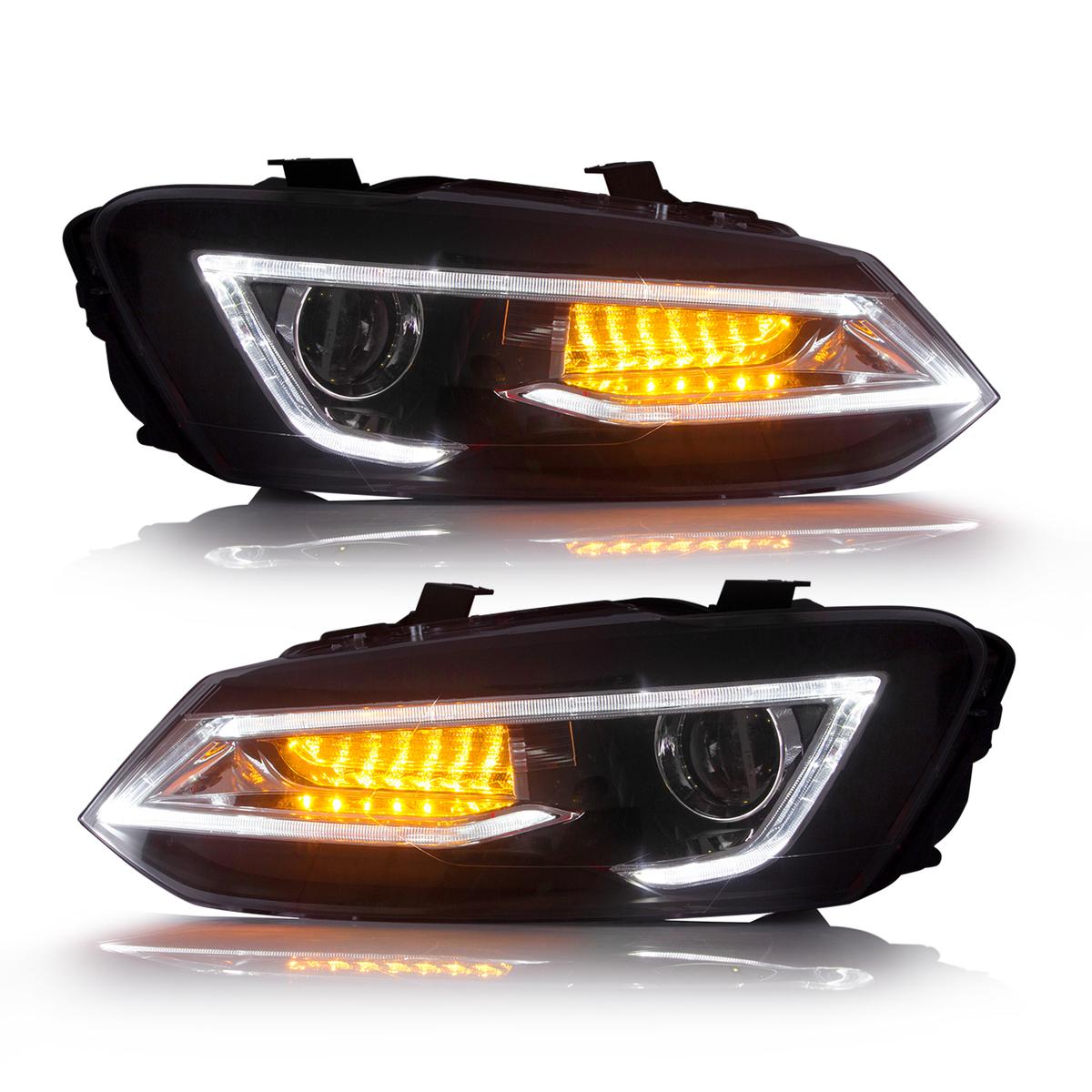 フォルクスワーゲンポロ 6R DRLスタイル ヘッドライト ダブル プロジェクター USEKA 定番の人気シリーズPOINT(ポイント)入荷 フォルクスワーゲン VW ポロ polo 6R用 LAMPS 2011-2017 FOR バルブは別売り LIGHTS Volkswagen 待望 左右セット新品 POLO HEAD ヘッドランプ LED 11-17年