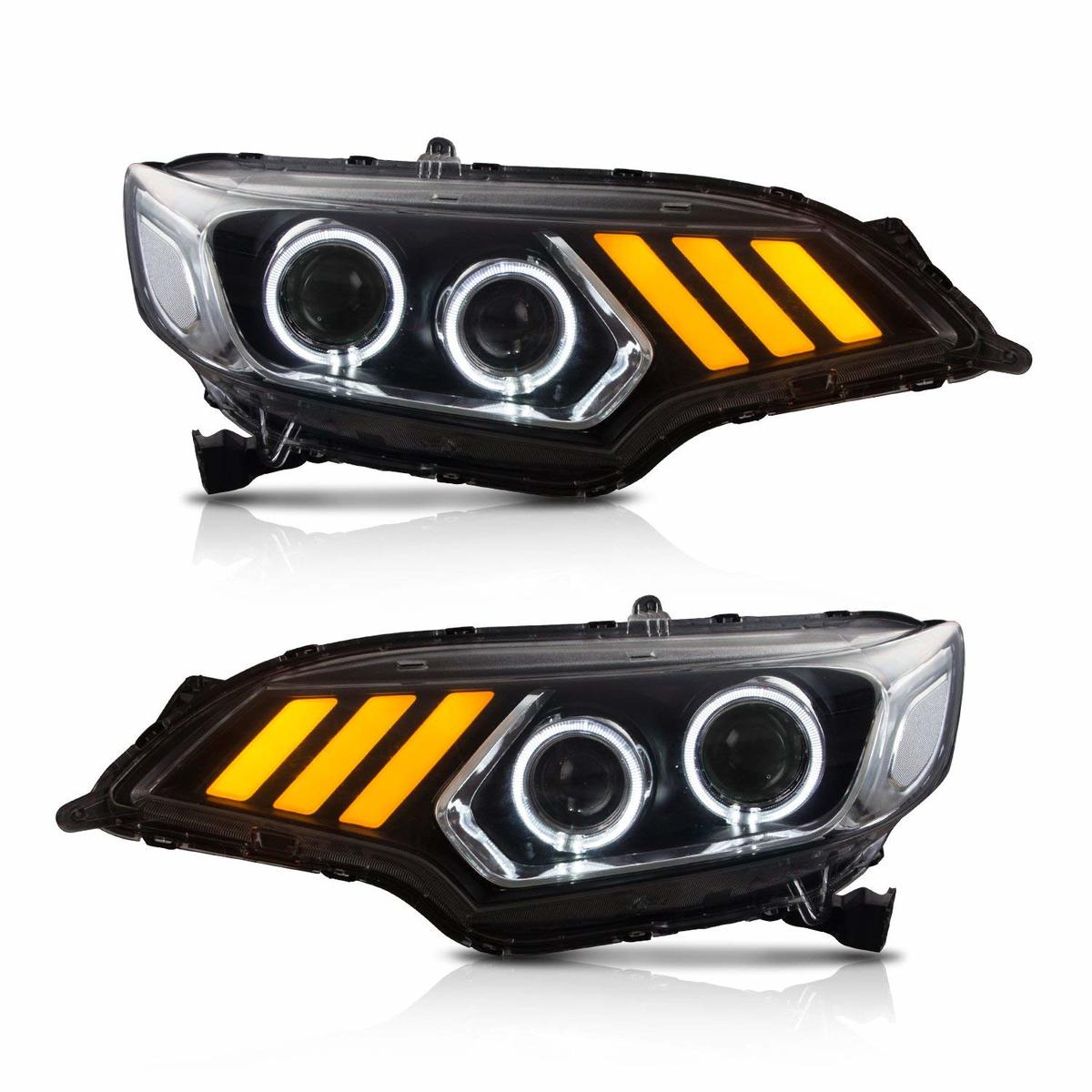フィット 配送員設置送料無料 お得クーポン発行中 GK GP ヘッドライト LED FIT FOR 2014-UP後のLEDヘッドライト ブラック HONDA GP前のハロゲンヘッドライト車適した USEKAホンダフィットGK
