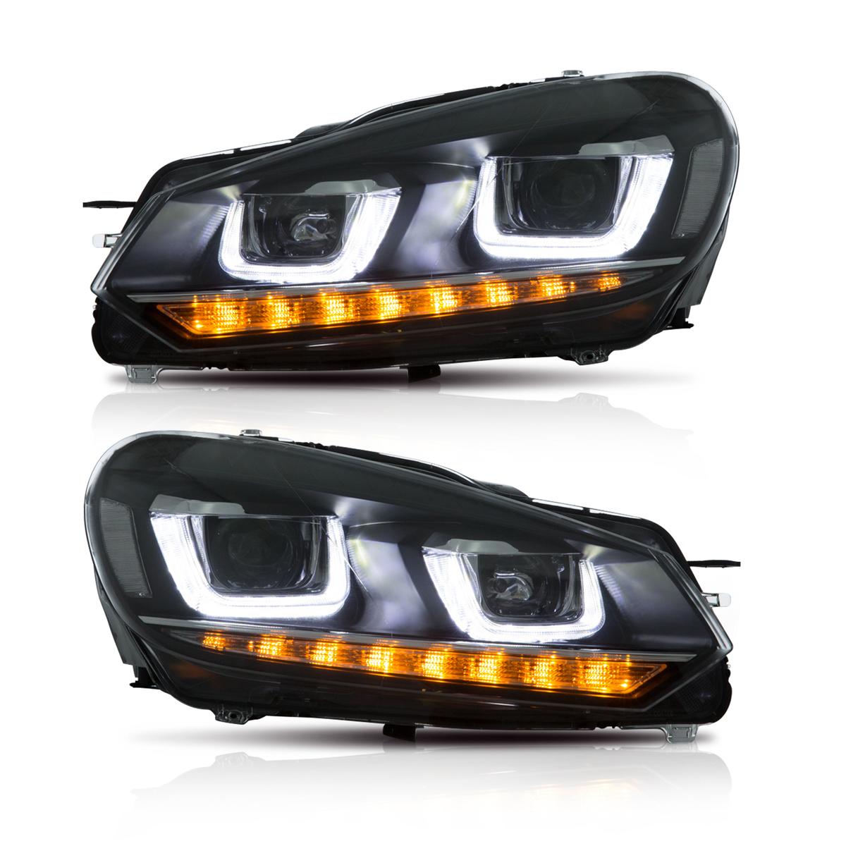 VW ☆送料無料☆ 当日発送可能 ゴルフ6 限定品 ヘッドライト Golf6 DRLスタイル USEKA フォルクスワーゲン 黒 左右セットLED ヘッドランプ M 2008年~2013年 Volkswagen For