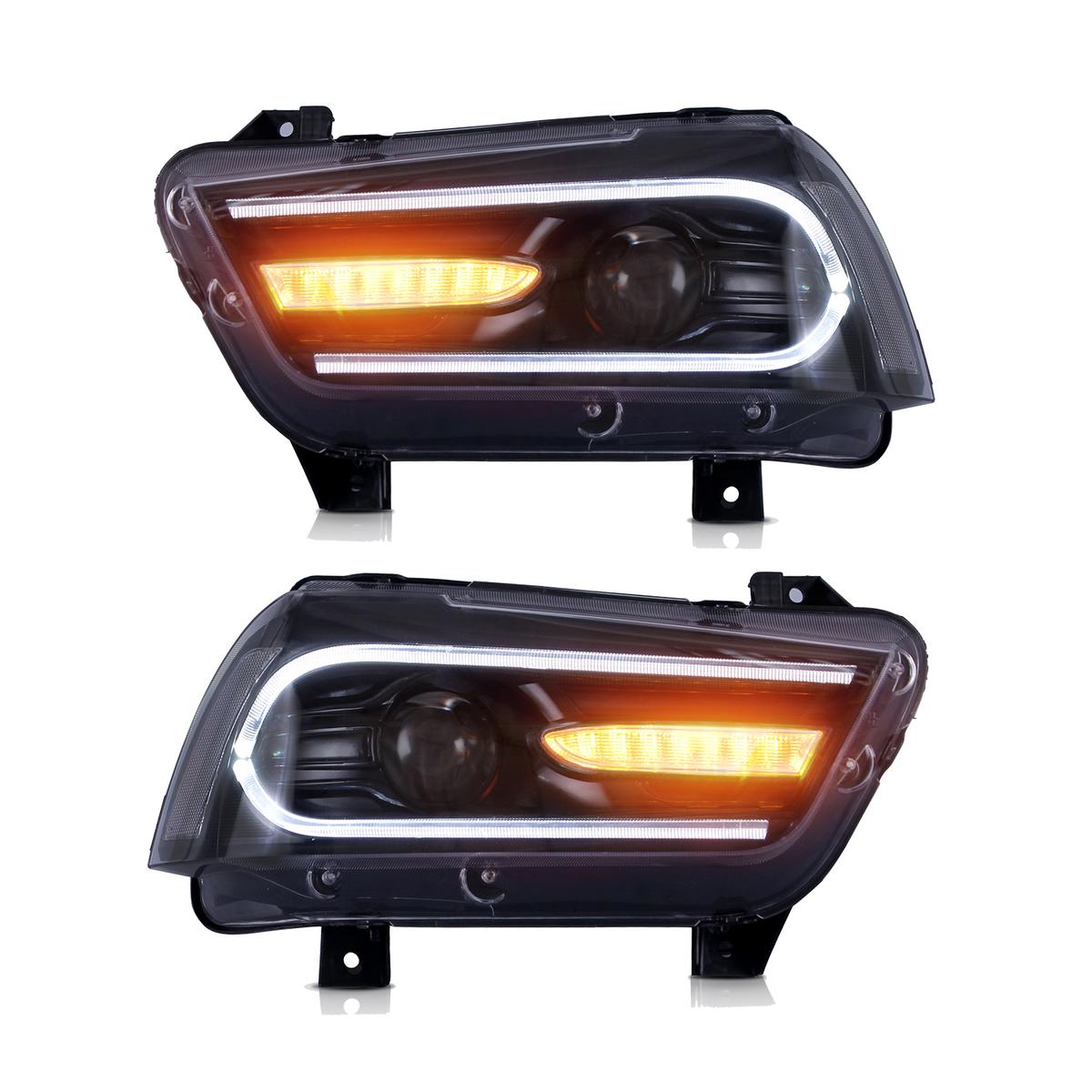 ダッジ チャージャー プロジェクター ヘッドライト LED 毎週更新 USEKA 用プロジェクター ヘッドランプ CHARGER 購入 11-14LED LAMP HEADLIGHT 左右セット新品 11-14 DODGE FOR