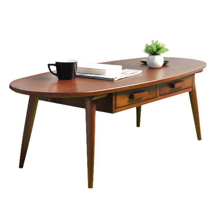 テーブル 木製 リビングテーブル センターテーブル 楕円形 引き出し付き KREIS ラージサイズ 幅110×奥行48×高さ37cm 北欧 vm-300