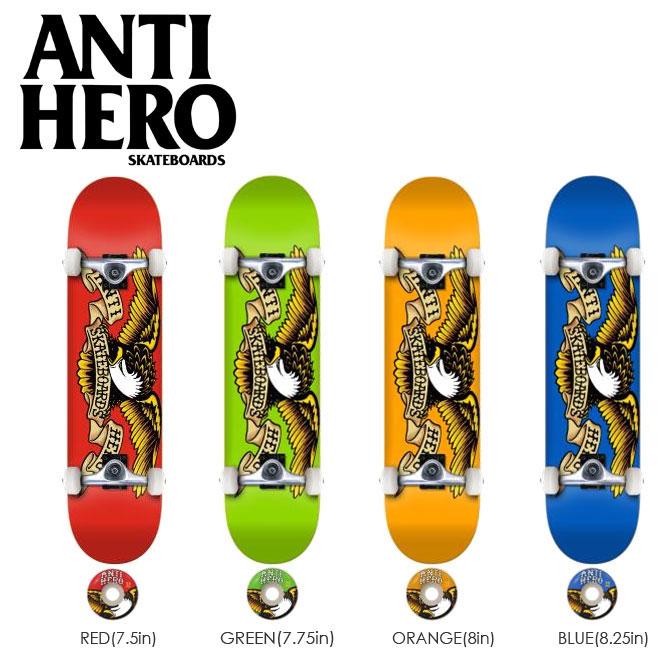 スケートボード コンプリート キッズ 子供用 レディース メンズ ANTI HERO アンタイヒーロー デッキ TEAM EAGLE 完成組立品 スケボー アンチヒーロー ボード 7.5 7.75 8.0 8.25in