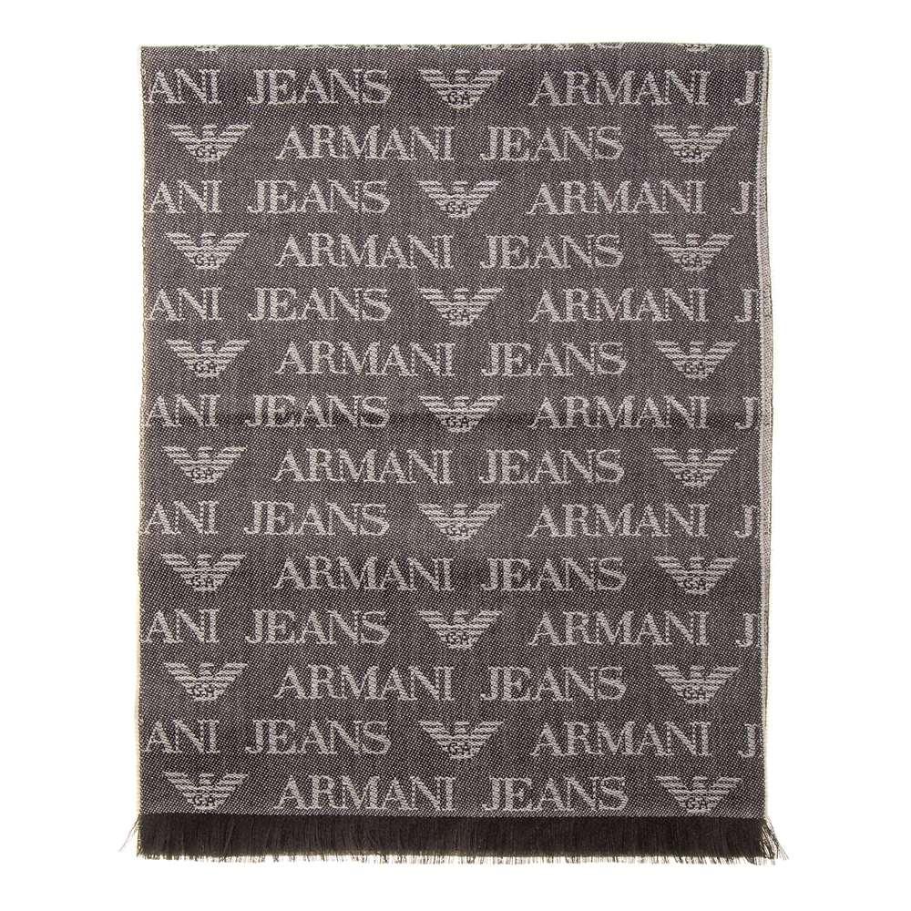 アルマーニジーンズ Armani Jeans マフラー メンズ イーグルロゴ ロゴ柄 ウール ブラウン/ベージュ